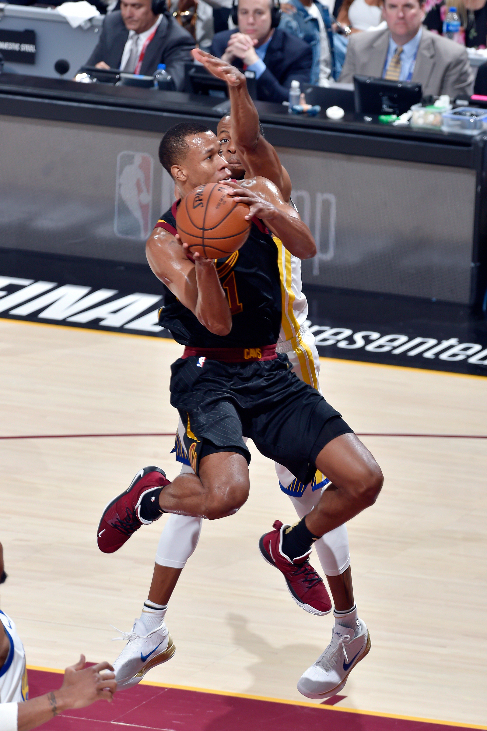 Rodney Hood #1 of the Cleveland Cavaliers drives to the basket during the game against the Golden State Warriors in Game Four of the 2018 NBA Finals on June 8, 2018 at Quicken Loans Arena in Cleveland, Ohio