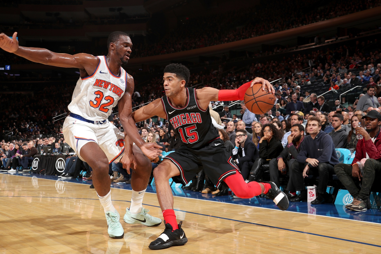 Chandler Hutchison #15 of the Chicago Bulls handles the ball against the New York Knicks on November 5, 2018 at Madison Square Garden in New York City, New York.
