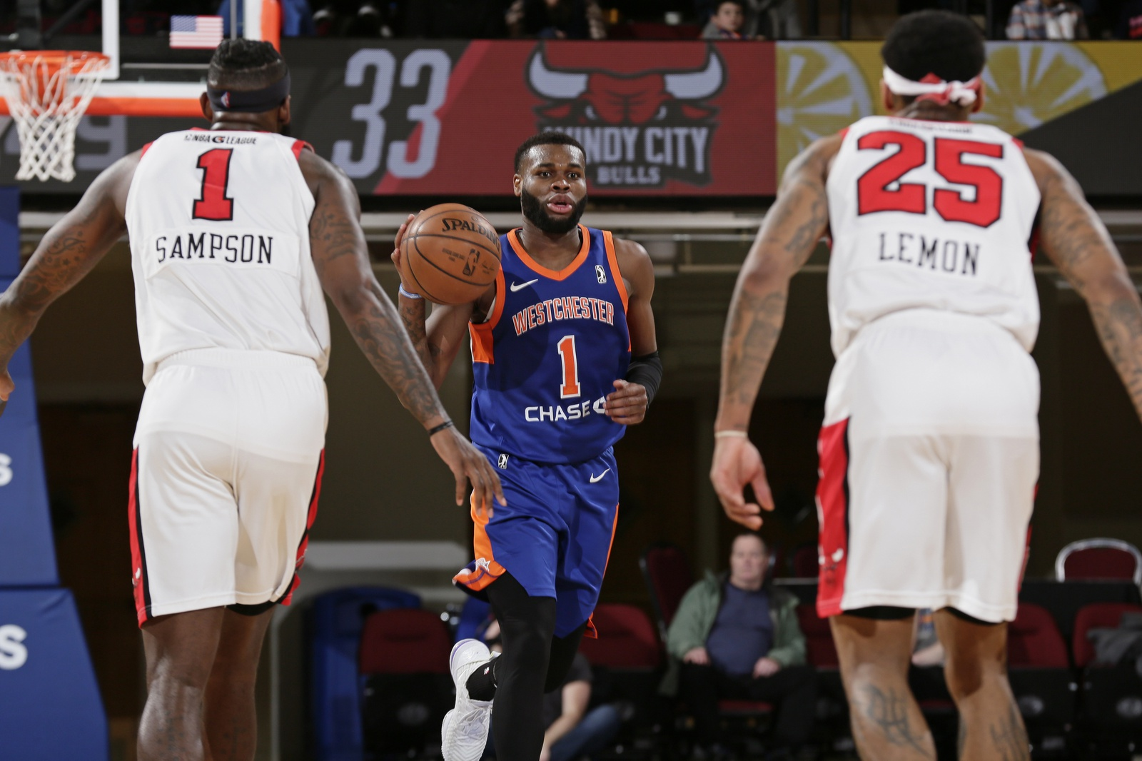 Kadeem Allen #1 of the Westchester Knicks dribbles the ball against the Windy City Bulls at the Westchester County Center on March 7, 2019 in Westchester, New York