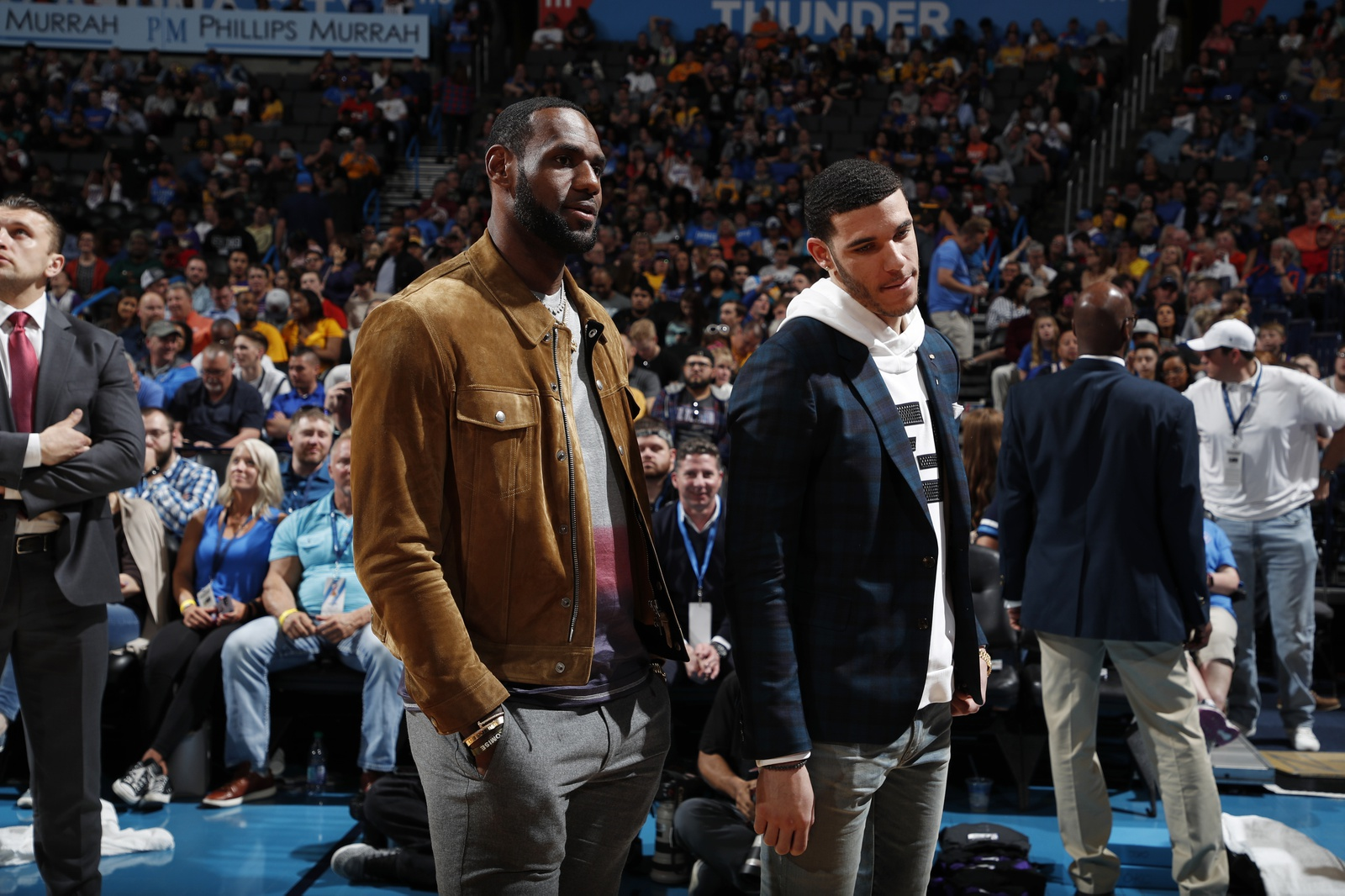 LeBron James #23 and Lonzo Ball #2 of the Los Angeles Lakers talk during a game against the Oklahoma City Thunder on April 2, 2019 at Chesapeake Energy Arena in Oklahoma City, Oklahoma.