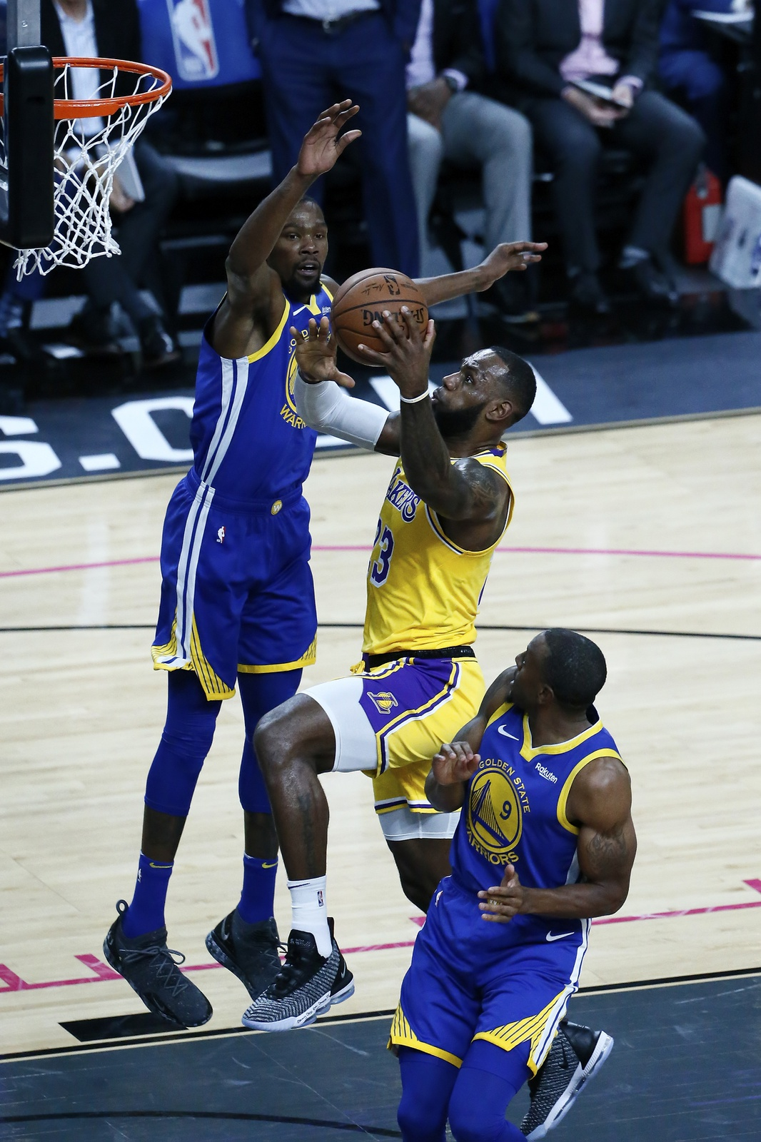 LeBron James #23 of the Los Angeles Lakers shoots the ball during the game against the Golden State Warriors on October 10, 2018 at T-Mobile Arena in Las Vegas, Nevada.