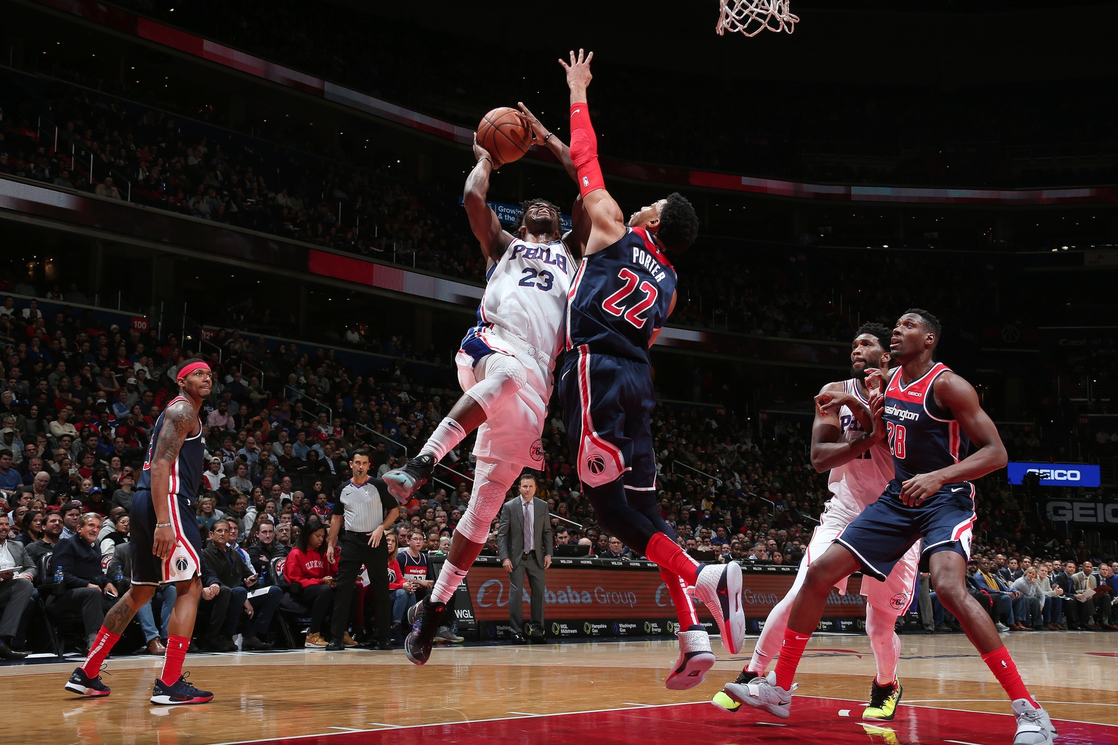 Jimmy Butler #23 of the Philadelphia 76ers shoots the ball against the Washington Wizards on January 9, 2019 at Capital One Arena in Washington, DC.