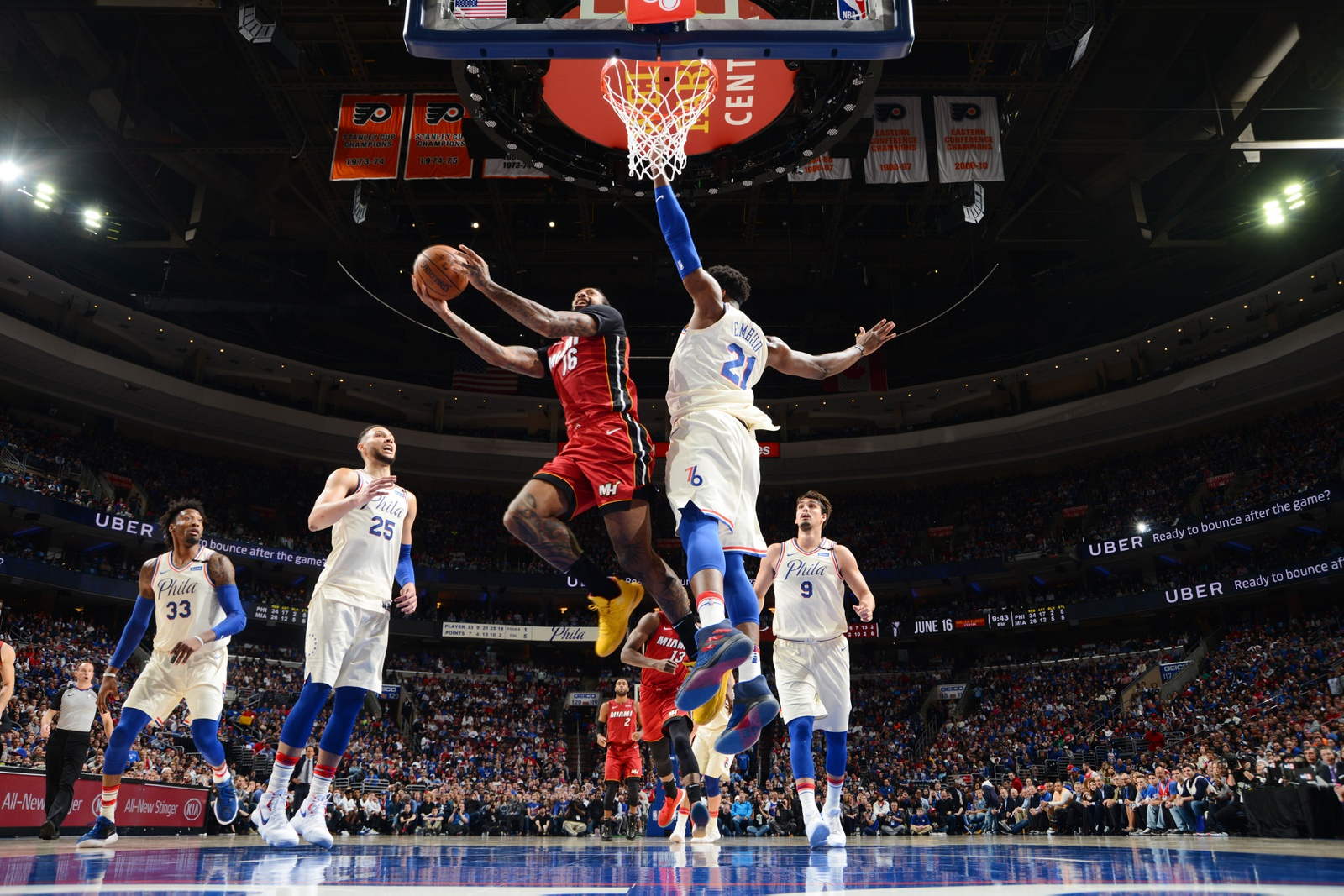 James Johnson #16 of the Miami Heat goes to the basket against the Philadelphia 76ers in Game Five of Round One of the 2018 NBA Playoffs on April 24, 2018 at Wells Fargo Center in Philadelphia, Pennsylvania.