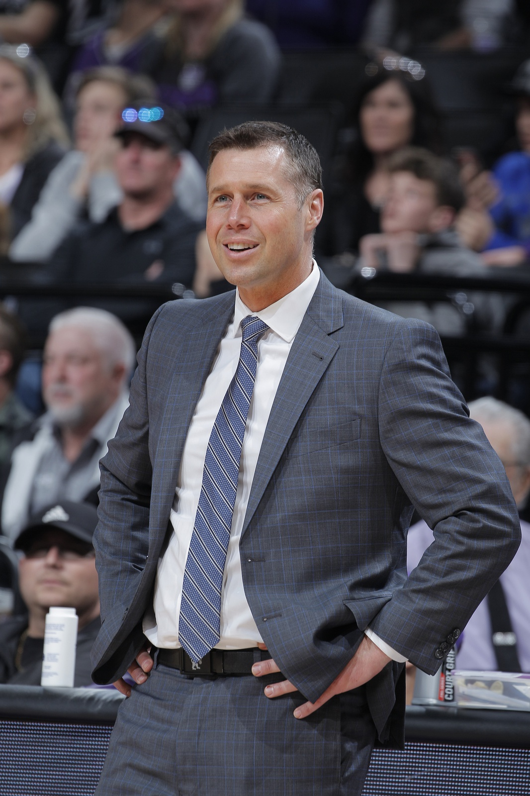 Head coach Dave Joerger of the Sacramento Kings looks on during the game against the Phoenix Suns on March 23, 2019 at Golden 1 Center in Sacramento, California.