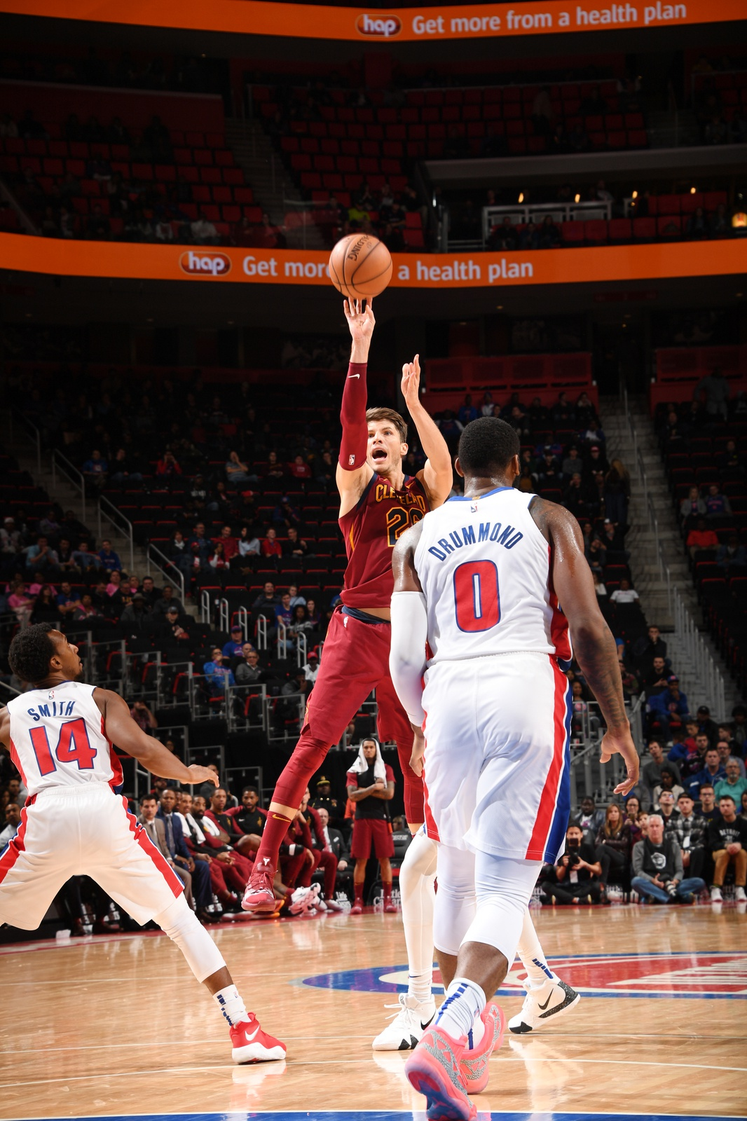 Kyle Korver #26 of the Cleveland Cavaliers shoots the ball against the Detroit Pistons on October 25, 2018 at Little Caesars Arena in Detroit, Michigan.