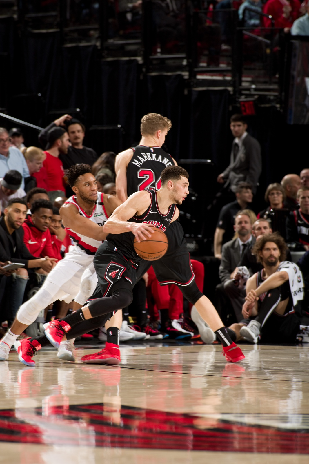 Zach LaVine #8 of the Chicago Bulls handles the ball against the Portland Trail Blazers on January 9, 2019 at the Moda Center Arena in Portland, Oregon.