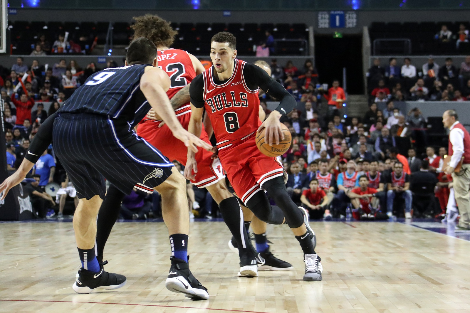 Zach LaVine #8 of the Chicago Bulls handles the ball against the Orlando Magic as part of the NBA Mexico Games 2018 on December 13, 2018 at Arena Ciudad de Mexico in Mexico City, Mexico.