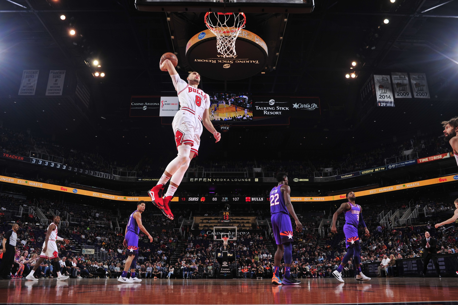 Zach LaVine #8 of the Chicago Bulls dunks the ball against the Phoenix Suns on March 18, 2019 at Talking Stick Resort Arena in Phoenix, Arizona
