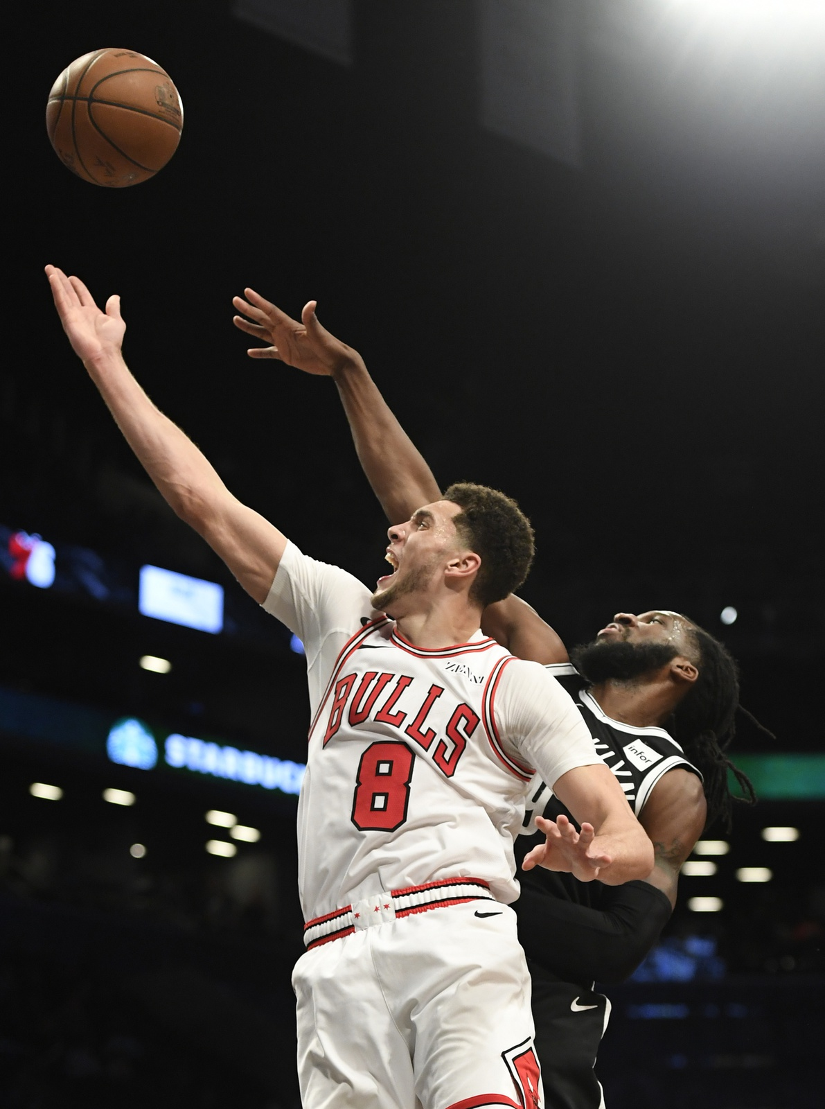 Zach LaVine #8 of the Chicago Bulls attempts a layup during the fourth quarter of the game against the Brooklyn Nets at Barclays Center on January 29, 2019 in the Brooklyn borough of New York City.