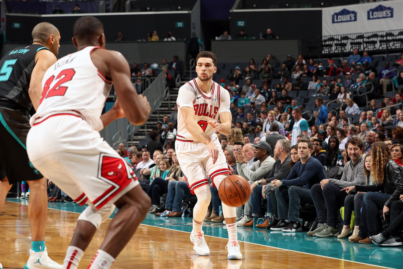 Zach LaVine #8 of the Chicago Bulls passes the ball against the Charlotte Hornets on February 2, 2019 at the Spectrum Center in Charlotte, North Carolina.