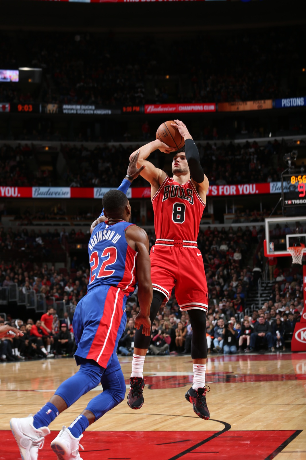 Zach LaVine of the Chicago Bulls shoots the ball in a game against the Detroit Pistons.