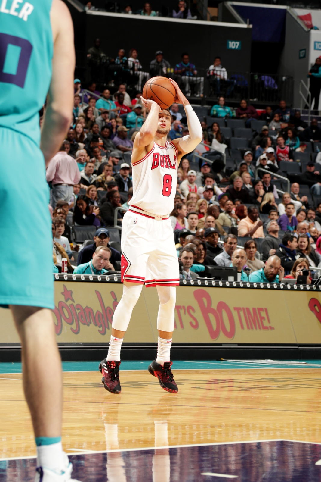 Zach LaVine #8 of the Chicago Bulls shoots the ball against the Charlotte Hornets on October 26, 2018 at Spectrum Center in Charlotte, North Carolina.