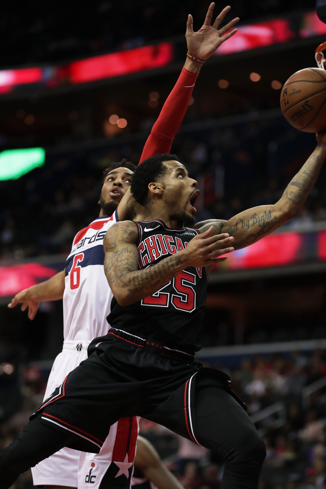 Walt Lemon Jr. #25 of the Chicago Bulls shoots the ball against the Washington Wizards on April 3, 2019 at Capital One Arena in Washington, DC.