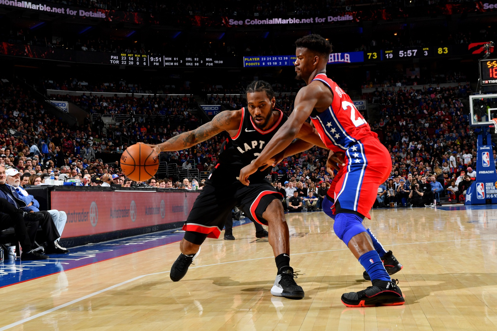 Kawhi Leonard #2 of the Toronto Raptors handles the ball against Jimmy Butler #23 of the Philadelphia 76ers on February 5, 2019 at the Wells Fargo Center in Philadelphia, Pennsylvania