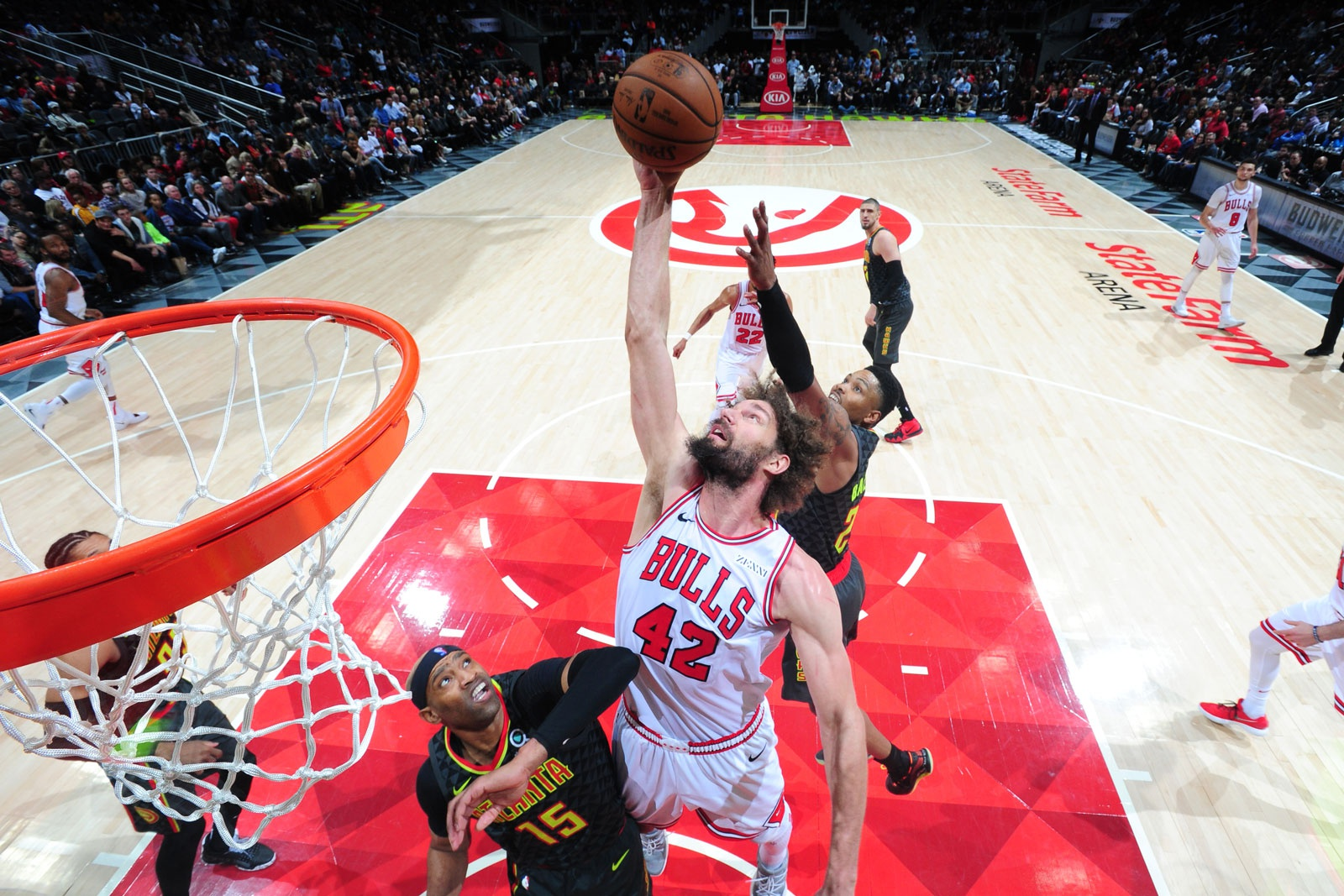 Robin Lopez #42 of the Chicago Bulls attempts to shoots the ball against the Atlanta Hawks on March 1, 2019 at State Farm Arena in Atlanta, Georgia.