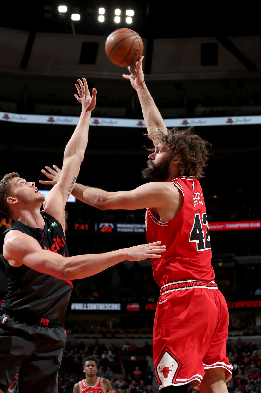 Robin Lopez #42 of the Chicago Bulls shoots the ball during the game against the Portland Trail Blazers on March 27, 2019 at the United Center in Chicago, Illinois.