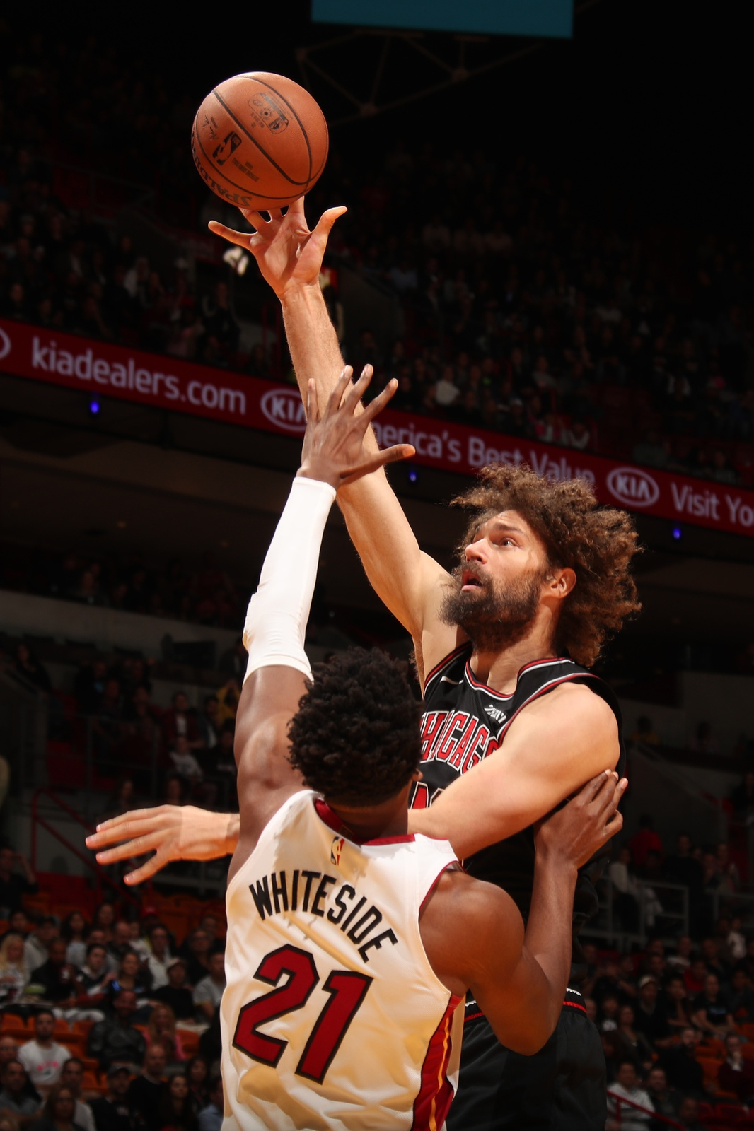 Robin Lopez #42 of the Chicago Bulls shoots the ball against the Miami Heat on January 30, 2019 at American Airlines Arena in Miami, Florida.