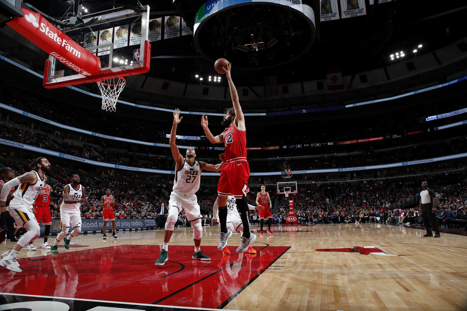 Robin Lopez #42 of the Chicago Bulls shoots the ball against the Utah Jazz on March 23, 2019 at United Center in Chicago, Illinois.