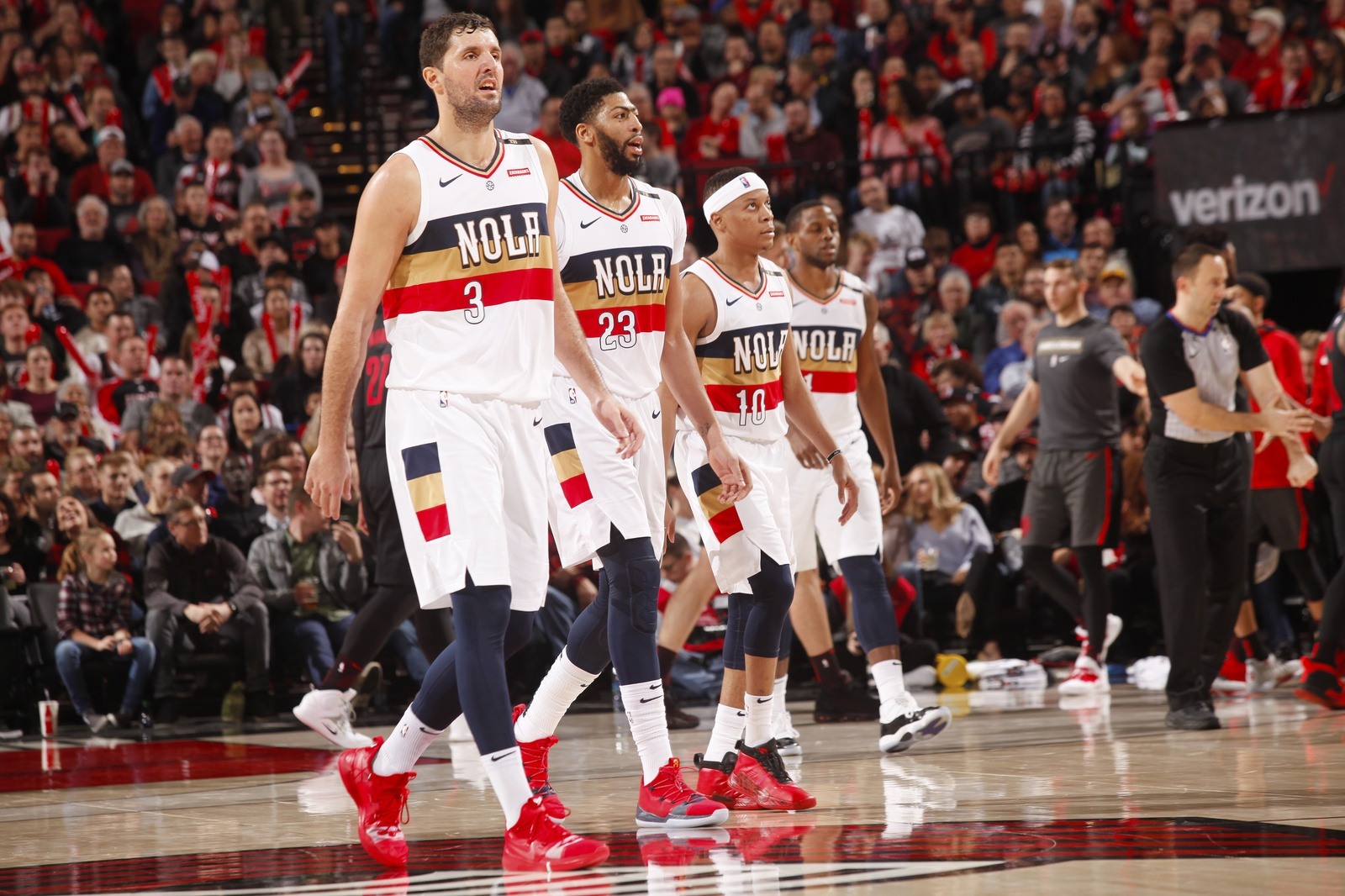 The New Orleans Pelicans all walk onto the court during the game against the Portland Trail Blazers on January 18, 2019 at the Moda Center Arena in Portland, Oregon.