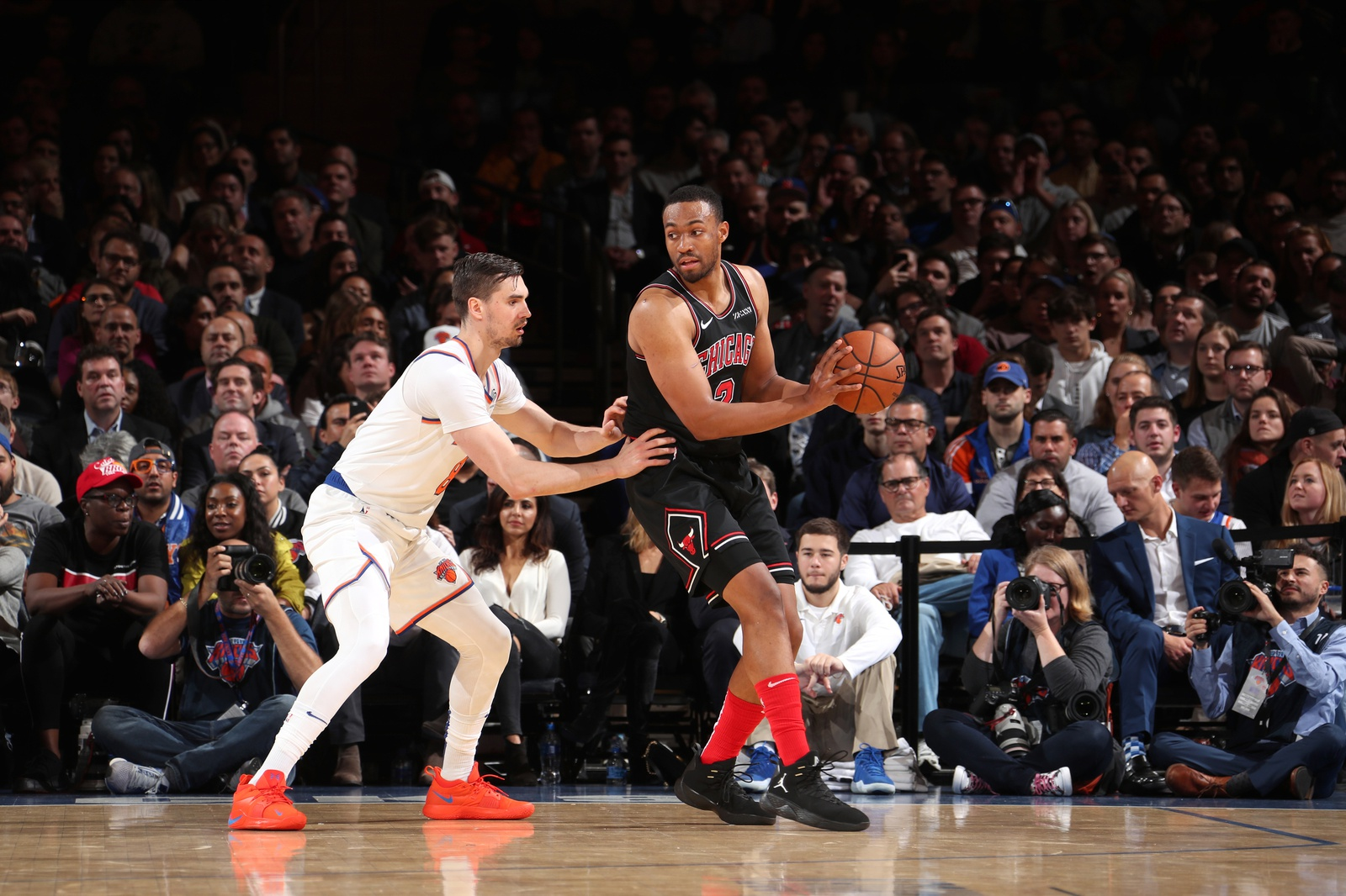 Jabari Parker #2 of the Chicago Bulls handles the ball against the New York Knicks on November 5, 2018 at Madison Square Garden in New York City, New York.