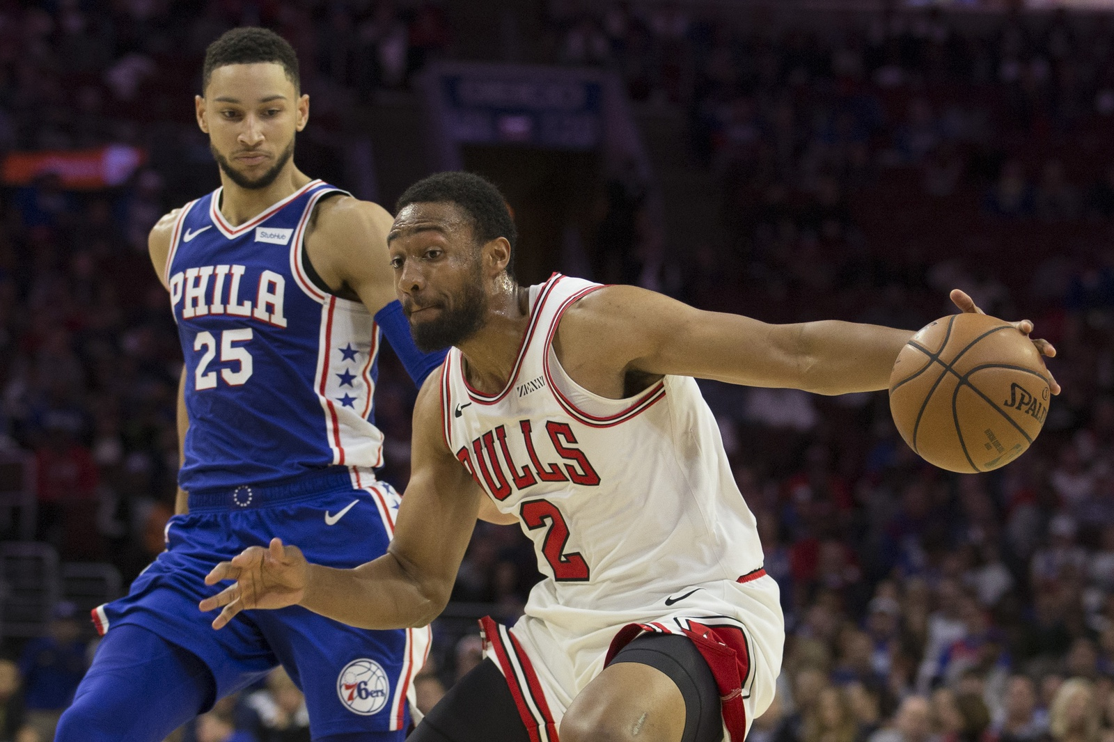 Jabari Parker #2 of the Chicago Bulls drives to the basket against Ben Simmons #25 of the Philadelphia 76ers in the fourth quarter at Wells Fargo Center on October 18, 2018 in Philadelphia, Pennsylvania. The 76ers defeated the Bulls 127-108.