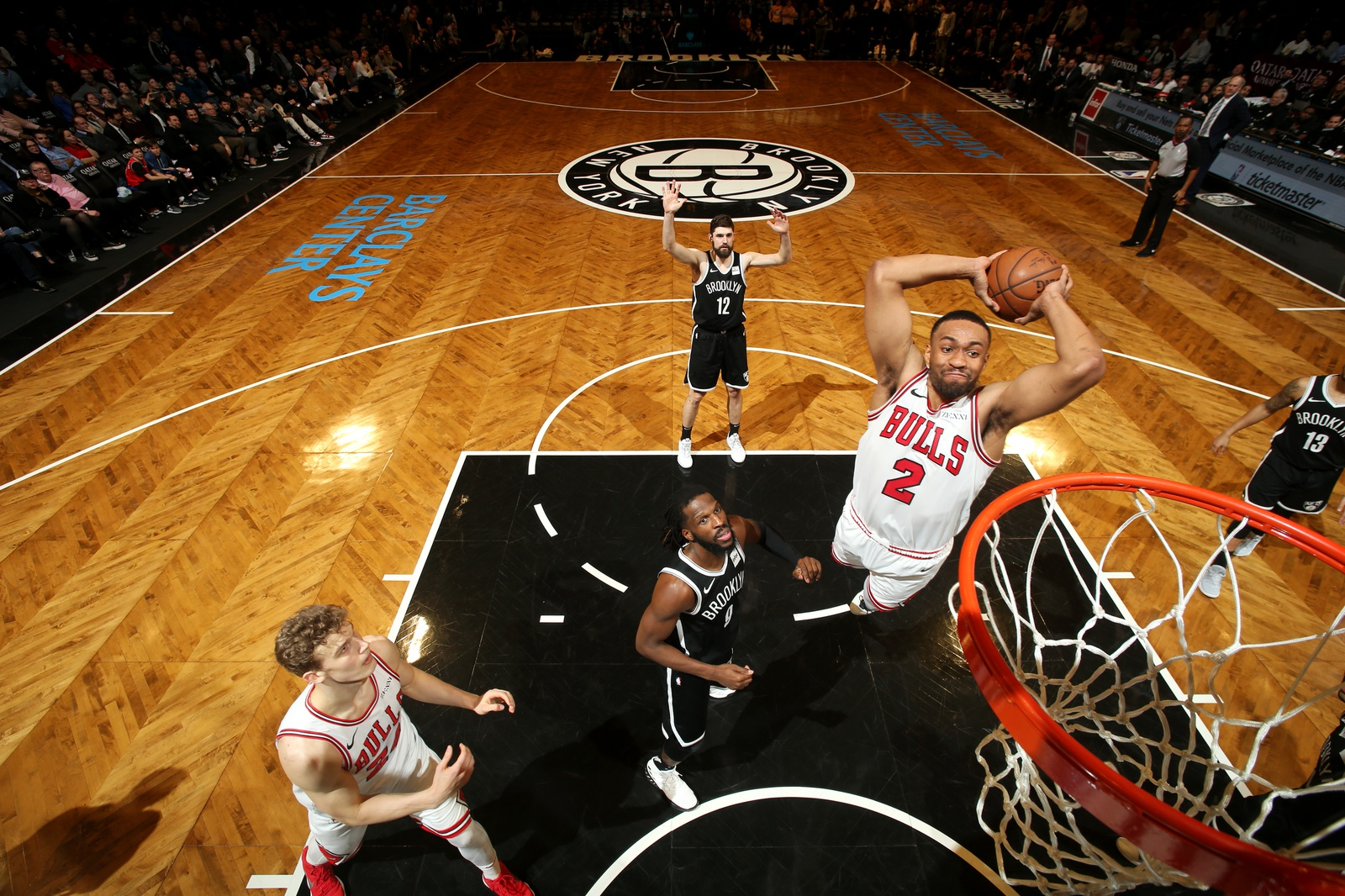Jabari Parker #2 of the Chicago Bulls dunks the ball against the Brooklyn Nets on January 29, 2019 at Barclays Center in Brooklyn, New York.