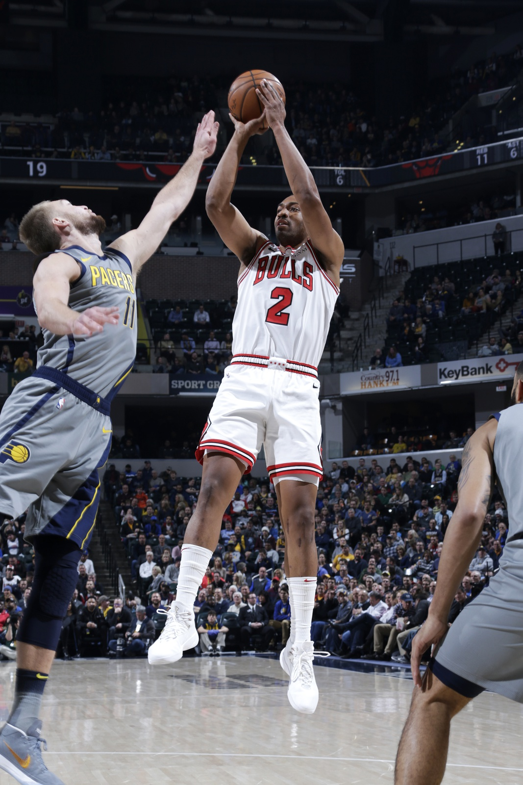 Jabari Parker #2 of the Chicago Bulls shoots the ball against the Indiana Pacers on December 4, 2018 at Bankers Life Fieldhouse in Indianapolis, Indiana.