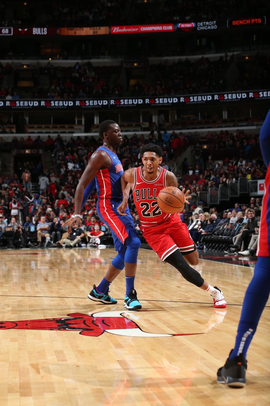 Cameron Payne of the Chicago Bulls dribbles the ball in a game against the Detroit Pistons.