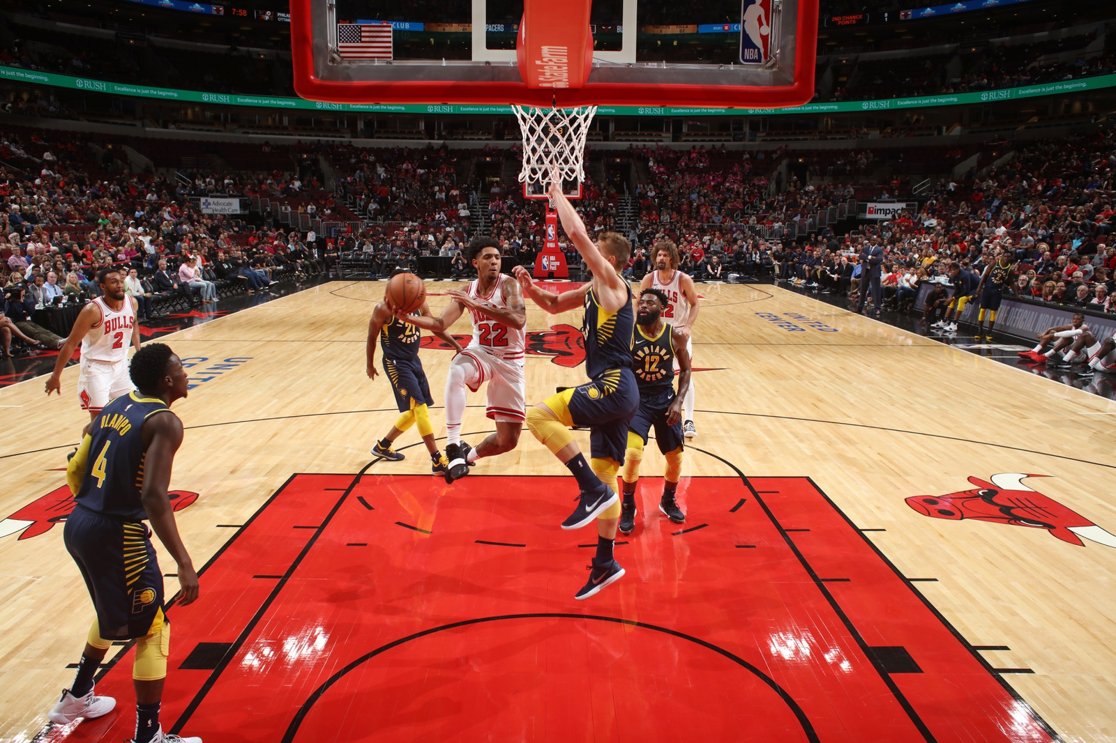 Cameron Payne #22 of the Chicago Bulls shoots the ball against the Indiana Pacers during a pre-season game on October 10, 2018 at the United Center in Chicago, Illinois.
