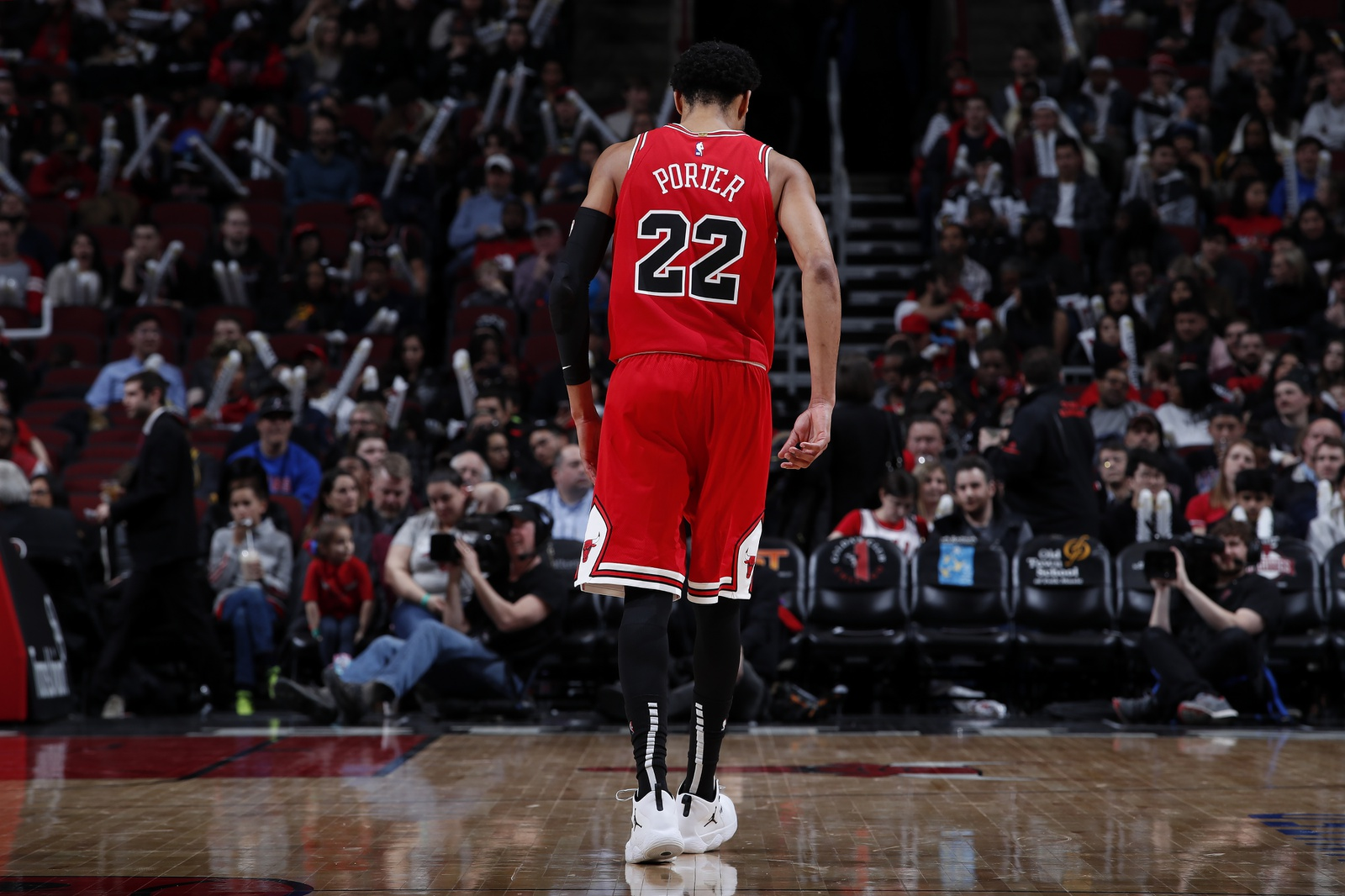 Otto Porter Jr. #22 of the Chicago Bulls walks away against the Memphis Grizzlies on February 13, 2019 at United Center in Chicago, Illinois.