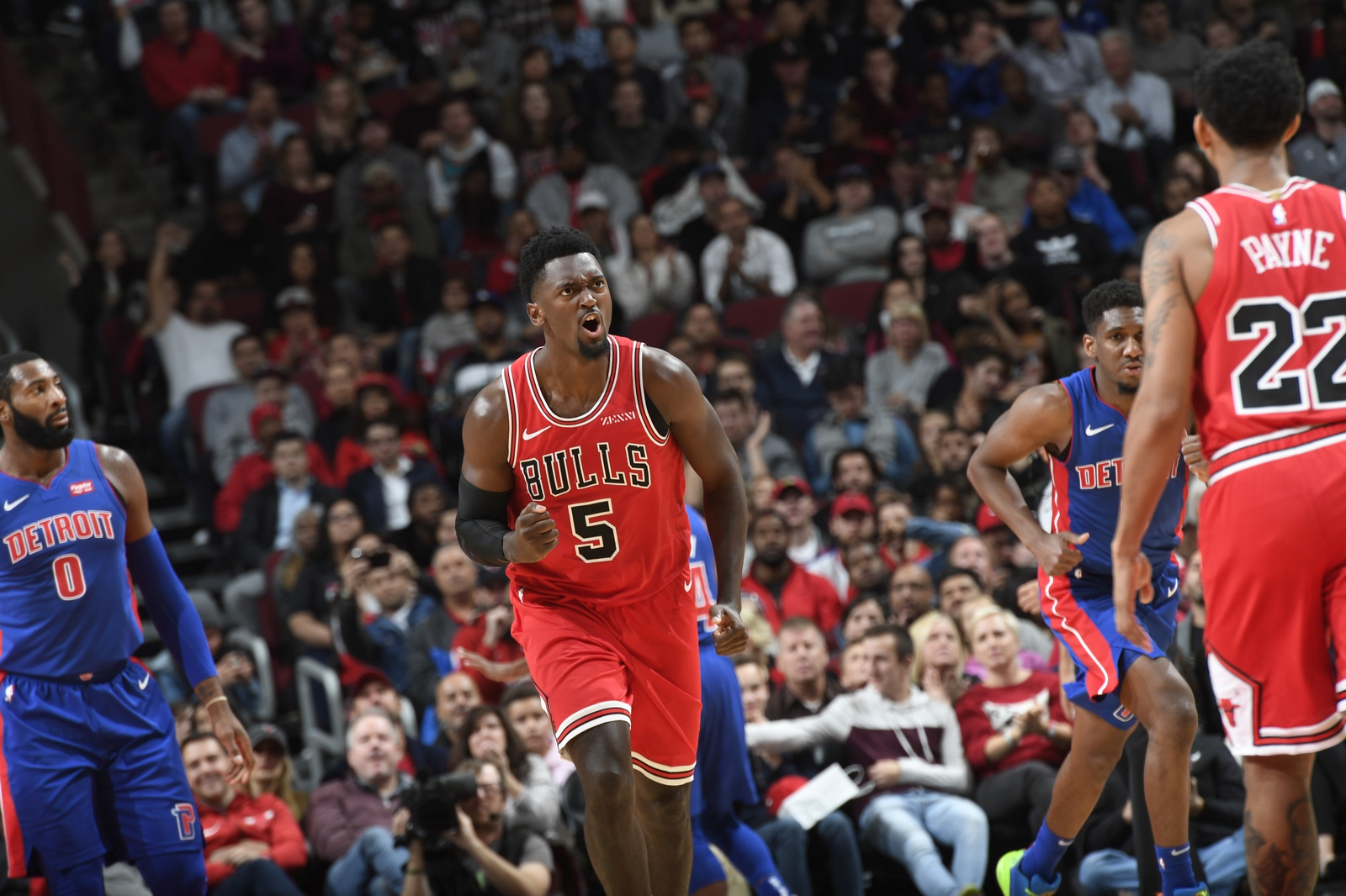 Bobby Portis celebrates after making a play in a game against the Detroit Pistons.