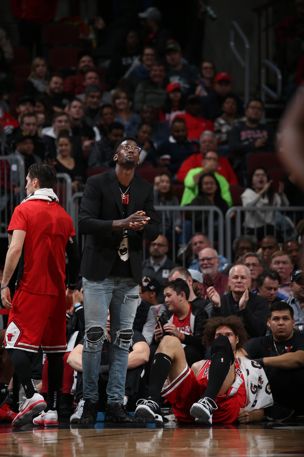 Bobby Portis #5 of the Chicago Bulls looks on during the game against the Houston Rockets on November 3, 2018 at the United Center in Chicago, Illinois.