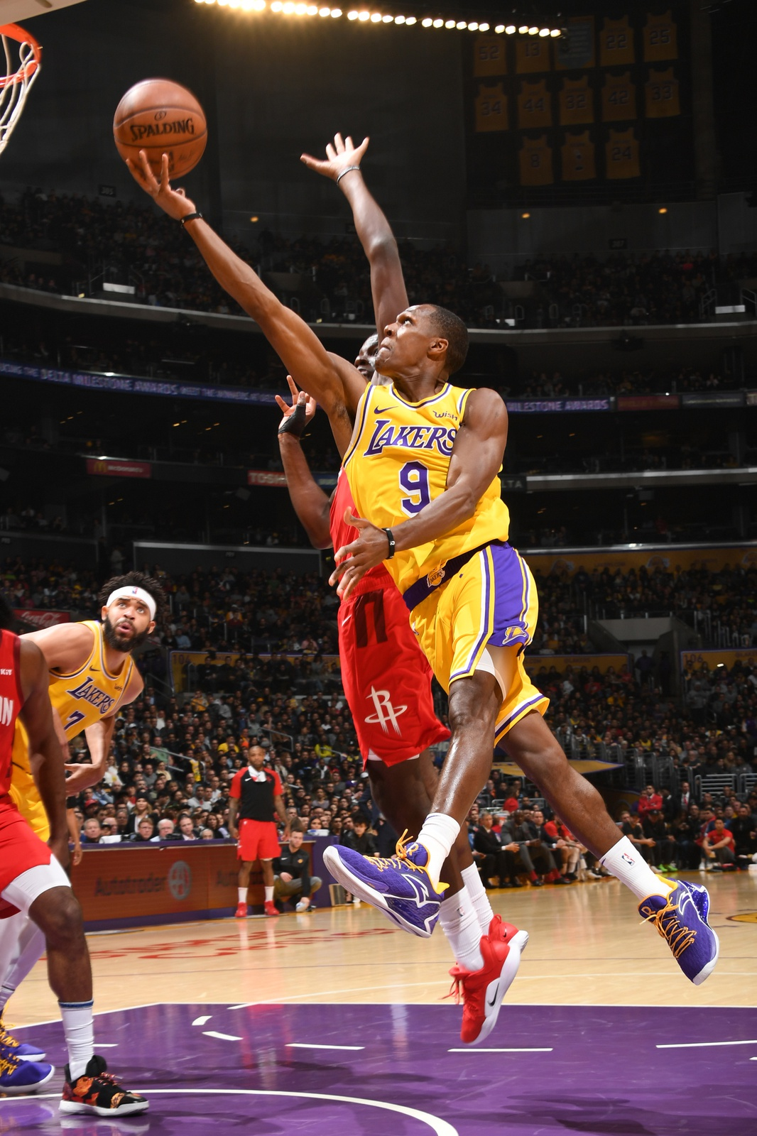 Rajon Rondo #9 of the Los Angeles Lakers shoots the ball against the Houston Rockets on February 21, 2019 at STAPLES Center in Los Angeles, California.