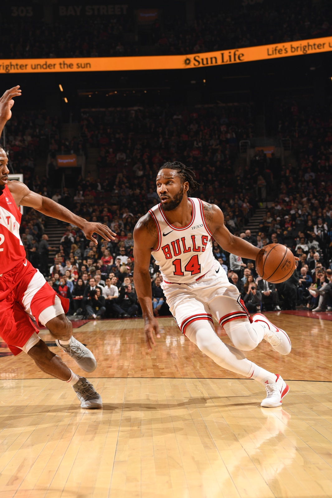 Wayne Selden #14 of the Chicago Bulls handles the ball against the Toronto Raptors on March 26, 2019 at the Scotiabank Arena in Toronto, Ontario, Canada.