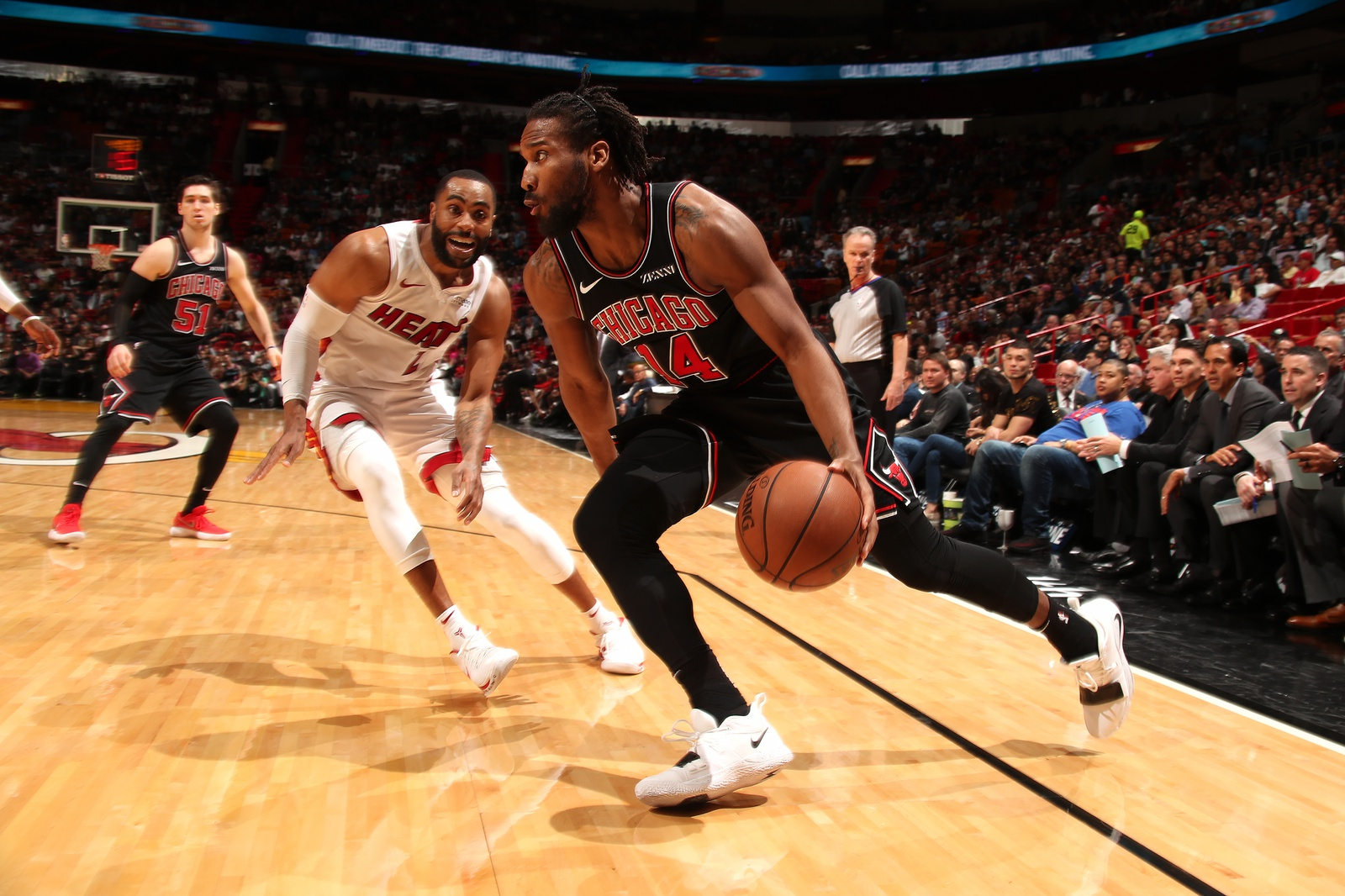 Wayne Selden #14 of the Chicago Bulls handles the ball against the Miami Heaton January 30, 2019 at American Airlines Arena in Miami, Florida.