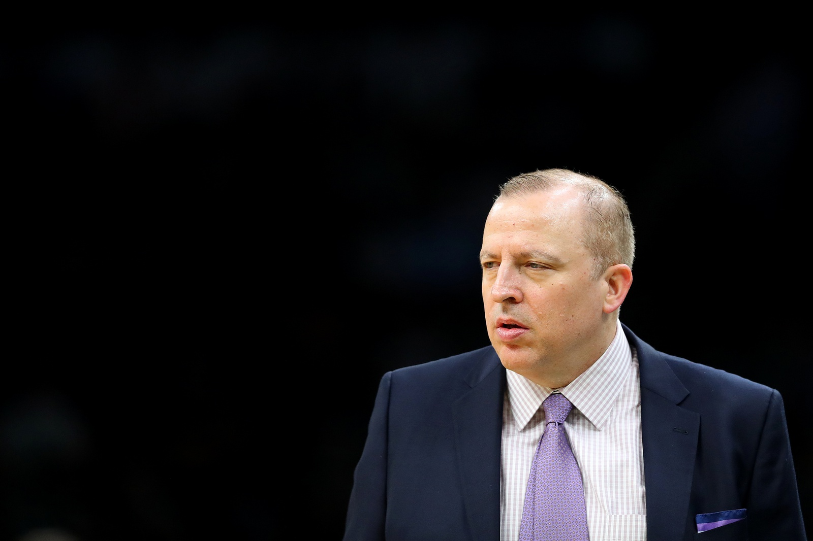 Tom Thibodeau of the Minnesota Timberwolves looks on during the game against the Boston Celtics at TD Garden on January 02, 2019 in Boston, Massachusetts.