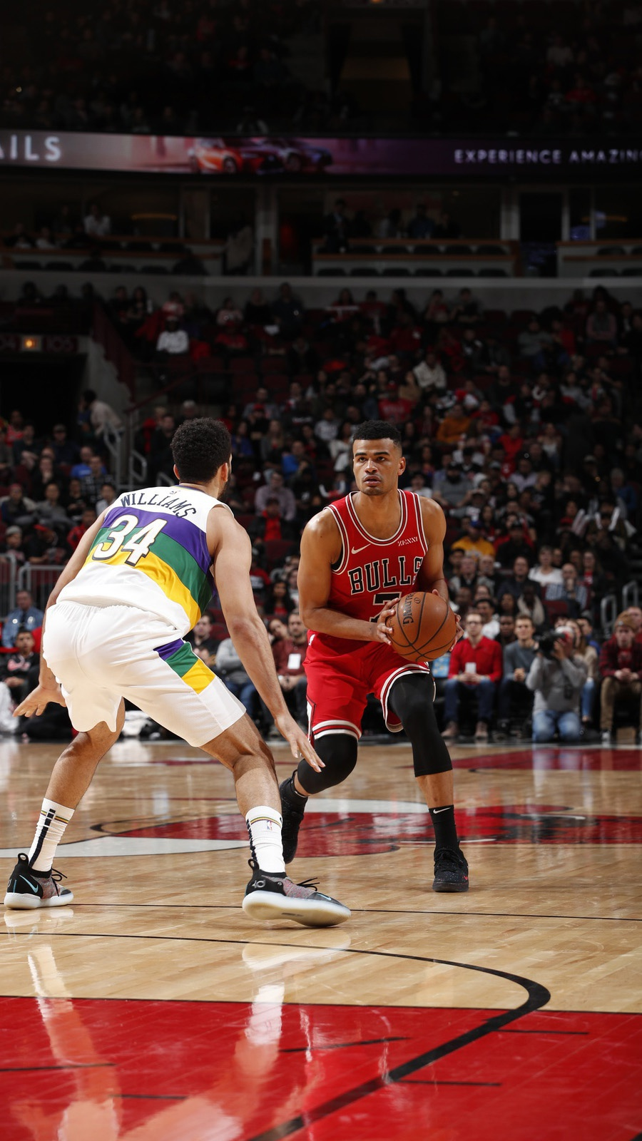 Timothe Luwawu-Cabarrot dribbles the ball against the New Orleans Pelicans on February 6, 2019 at United Center in Chicago, Illinois.