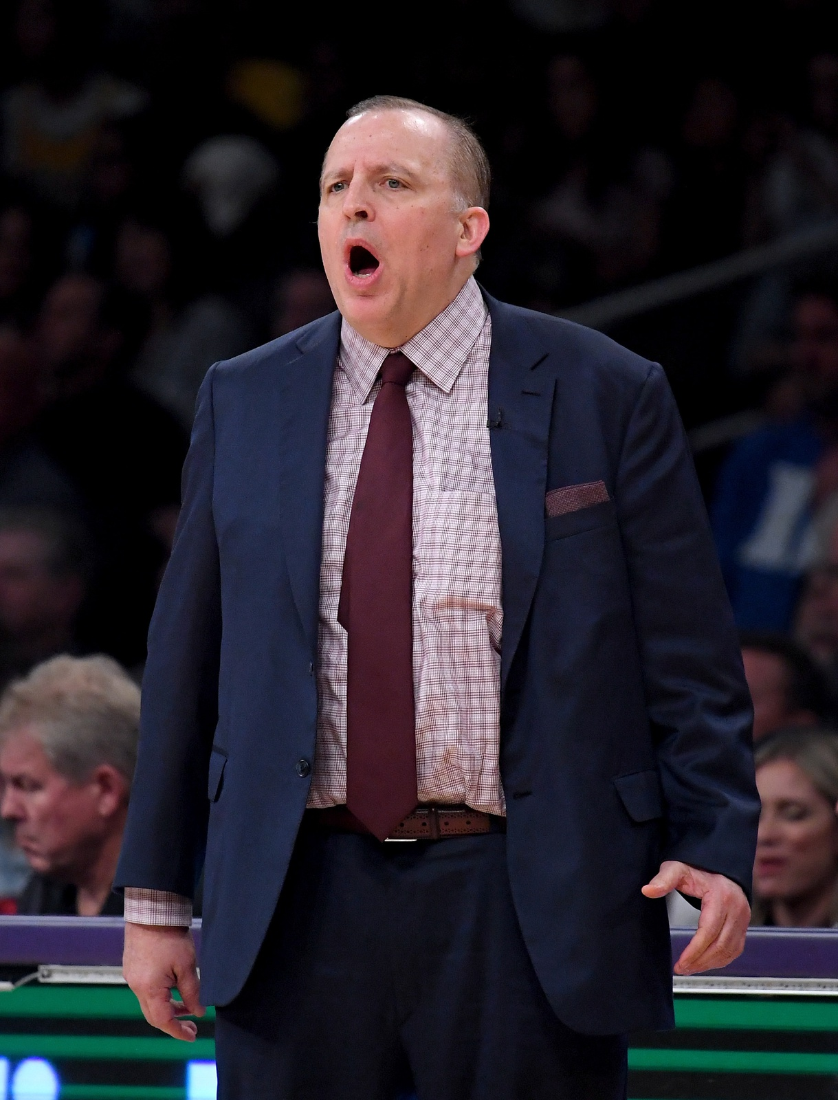 Head coach Tom Thibodeau of the Minnesota Timberwolves calls out to his team during the first half against the Los Angeles Lakers at Staples Center on November 7, 2018 in Los Angeles, California.