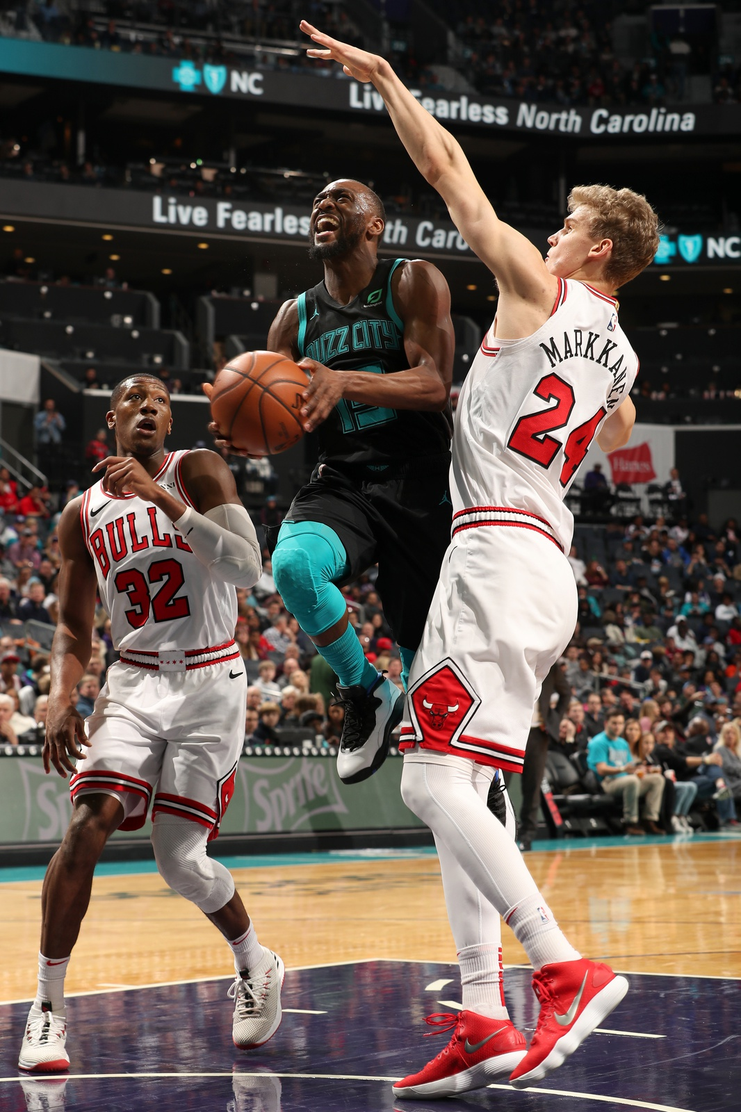 Kemba Walker #15 of the Charlotte Hornets goes to the basket against the Chicago Bulls on February 2, 2019 at the Spectrum Center in Charlotte, North Carolina.
