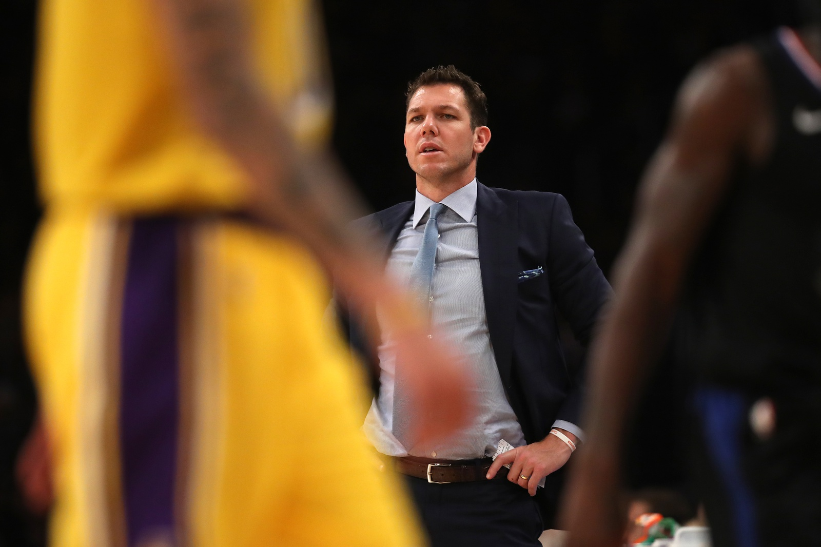 Head coach Luke Walton of the Los Angeles Lakers during the first half of a game against the Los Angeles Clippers at Staples Center on March 04, 2019 in Los Angeles, California.