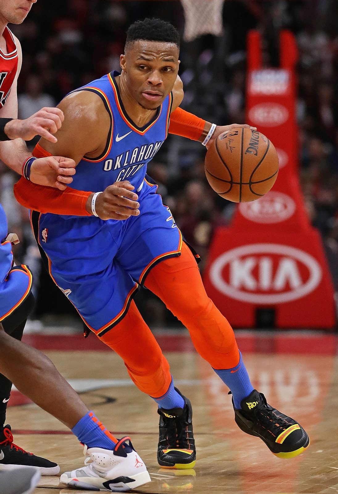 Russell Westbrook #0 of the Oklahoma City Thunder moves against the Chicago Bulls at the United Center on December 07, 2018 in Chicago, Illinois. The Bulls defeated the Thunder 114-112.