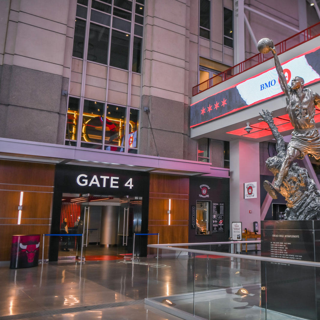 The Michael Jordan Statue in the United Center Atriium