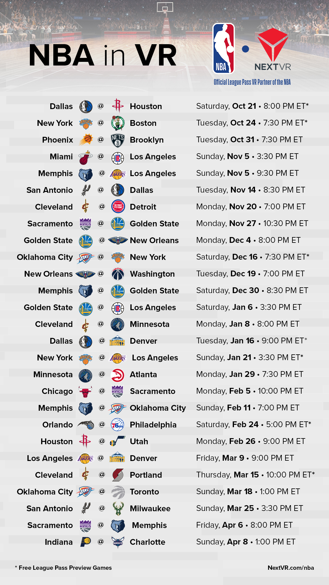 2017-18 nba league pass virtual reality tv schedule | cleveland