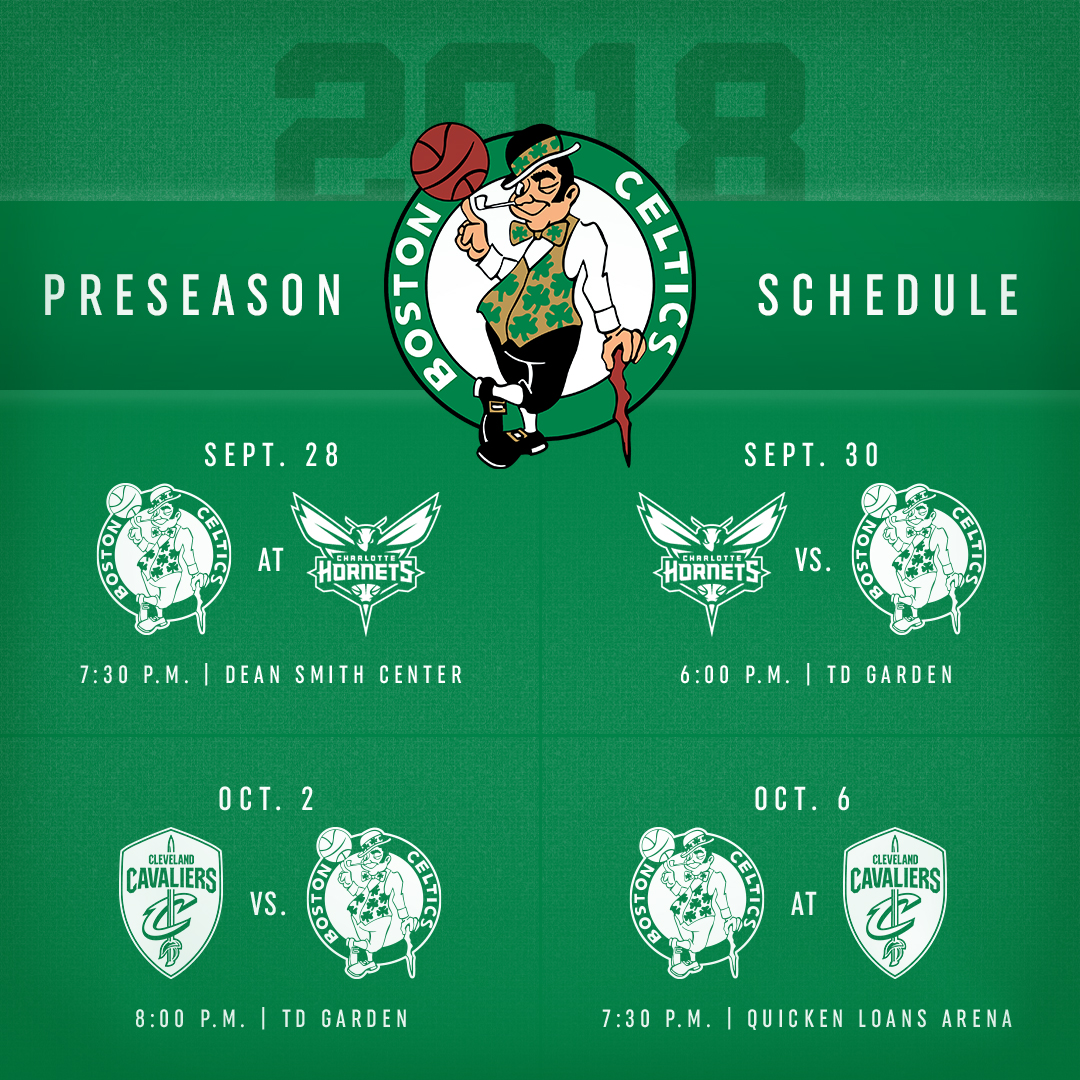 graphic about Celtics Printable Schedule referred to as 2018 Preseason Plan Boston Celtics