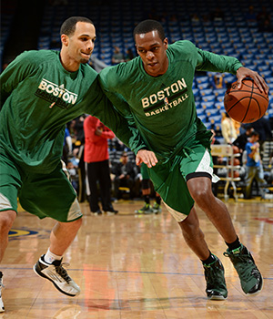 Rajon Rondo puts in work on the practice floor