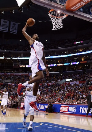 DeAndre Jordan dunks in a game vs. the Lakers