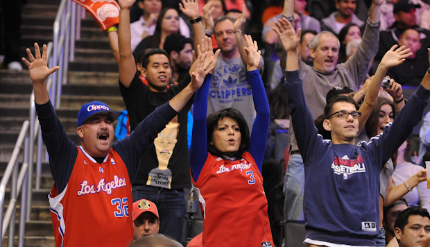 Photo of fans in attendance at a Clippers game at Staples Center