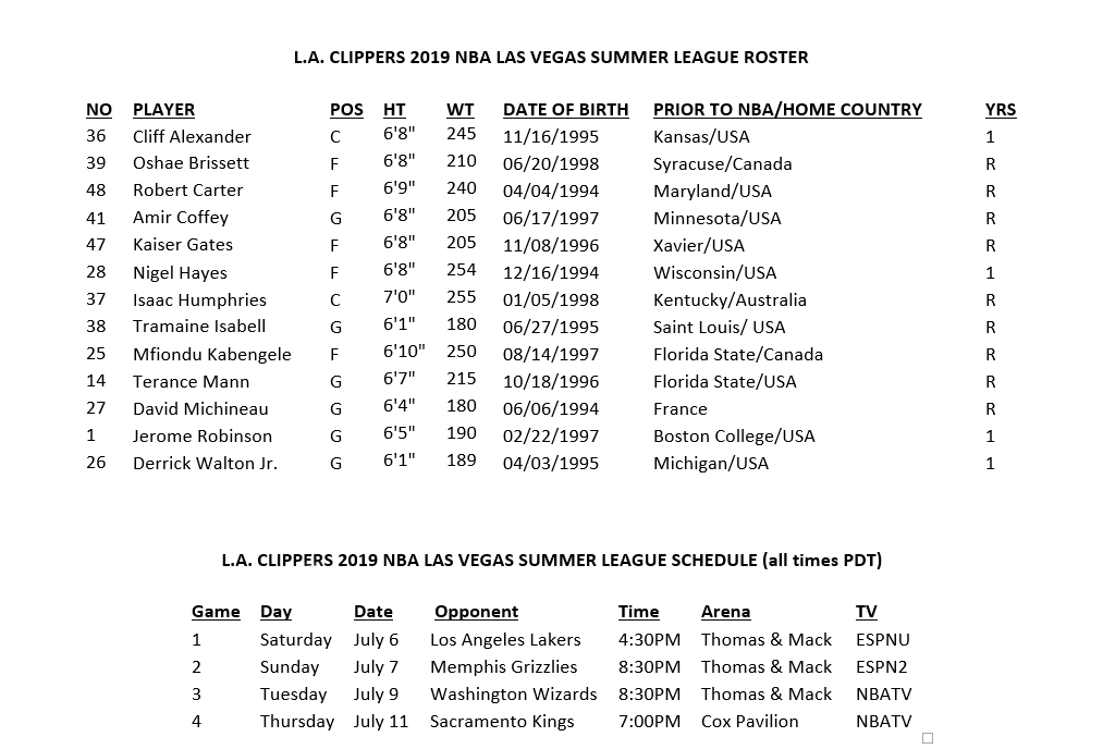 Lakers Summer League Schedule 2020.L A Clippers Announce 2019 Mgm Resorts Nba Summer League