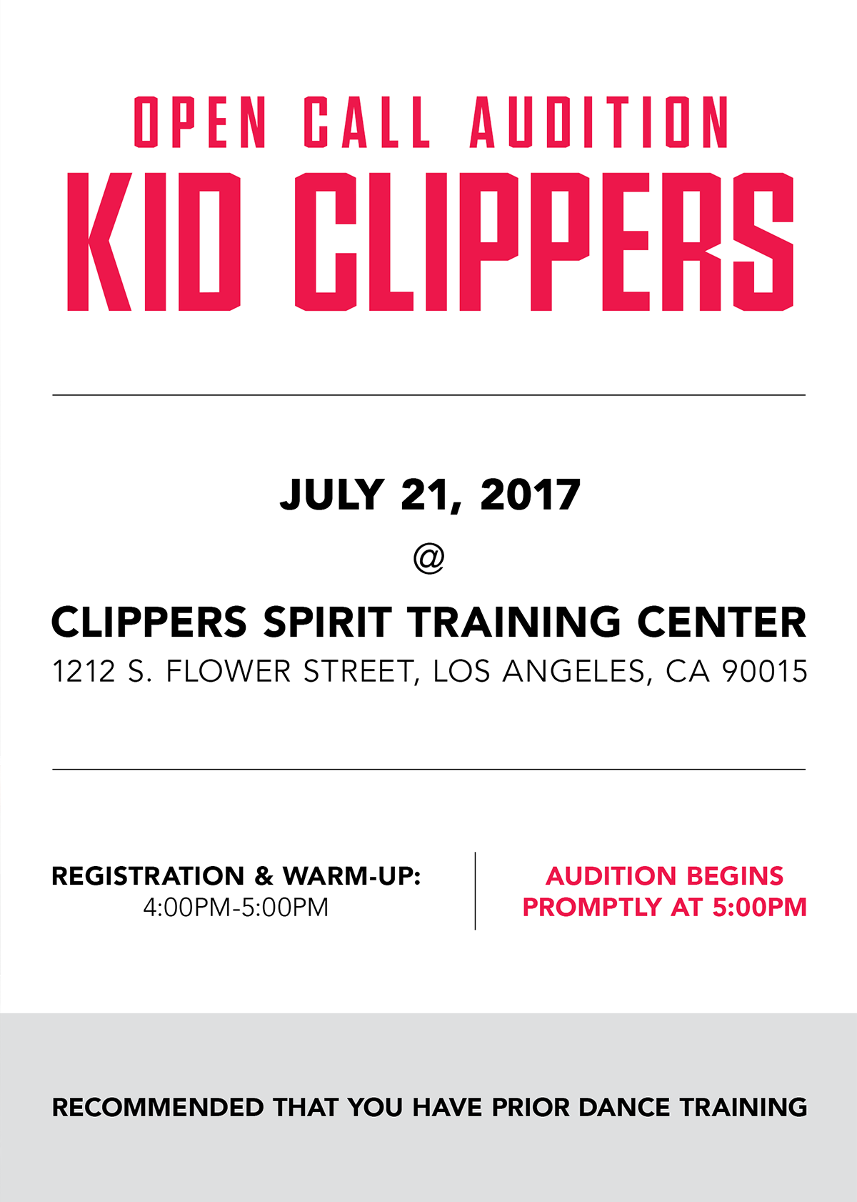 Kid Clippers Audition Info