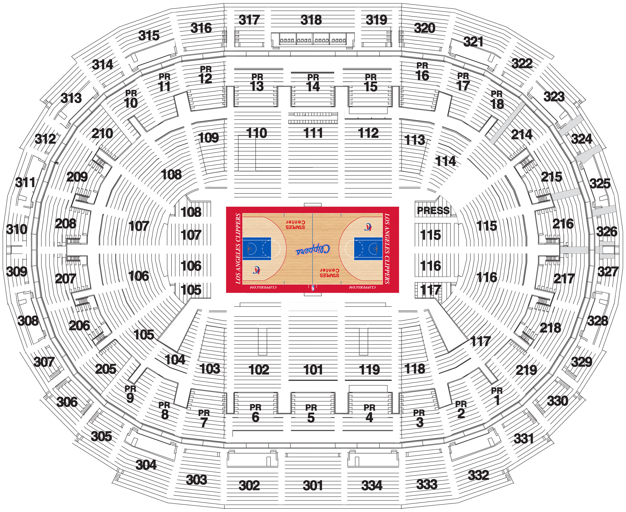 staples center seating chart la clippers